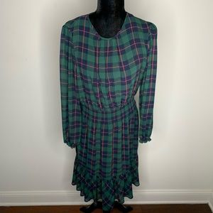 J. Crew Plaid Long Sleeve Dress Size Mediuk